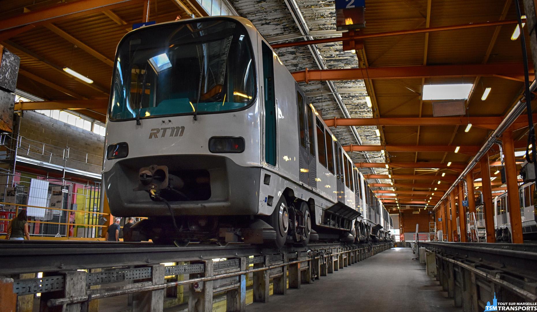 Alstom MPM76  sur une voie de garage au dépôt de LA ROSE METRO