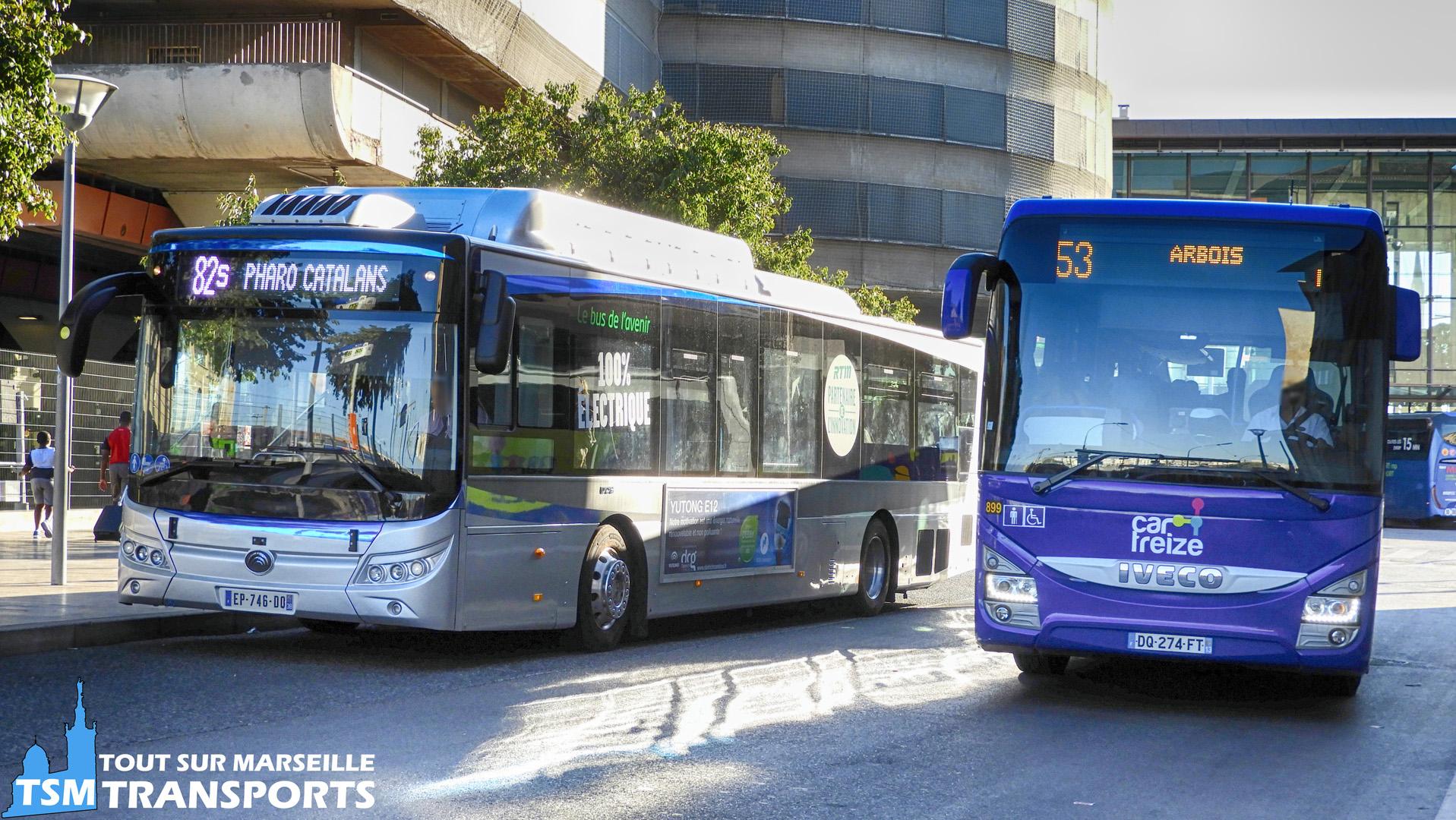 Iveco Crossway RDT13 sur la ligne 53 qui double le Yutong E12 LF de la RTM