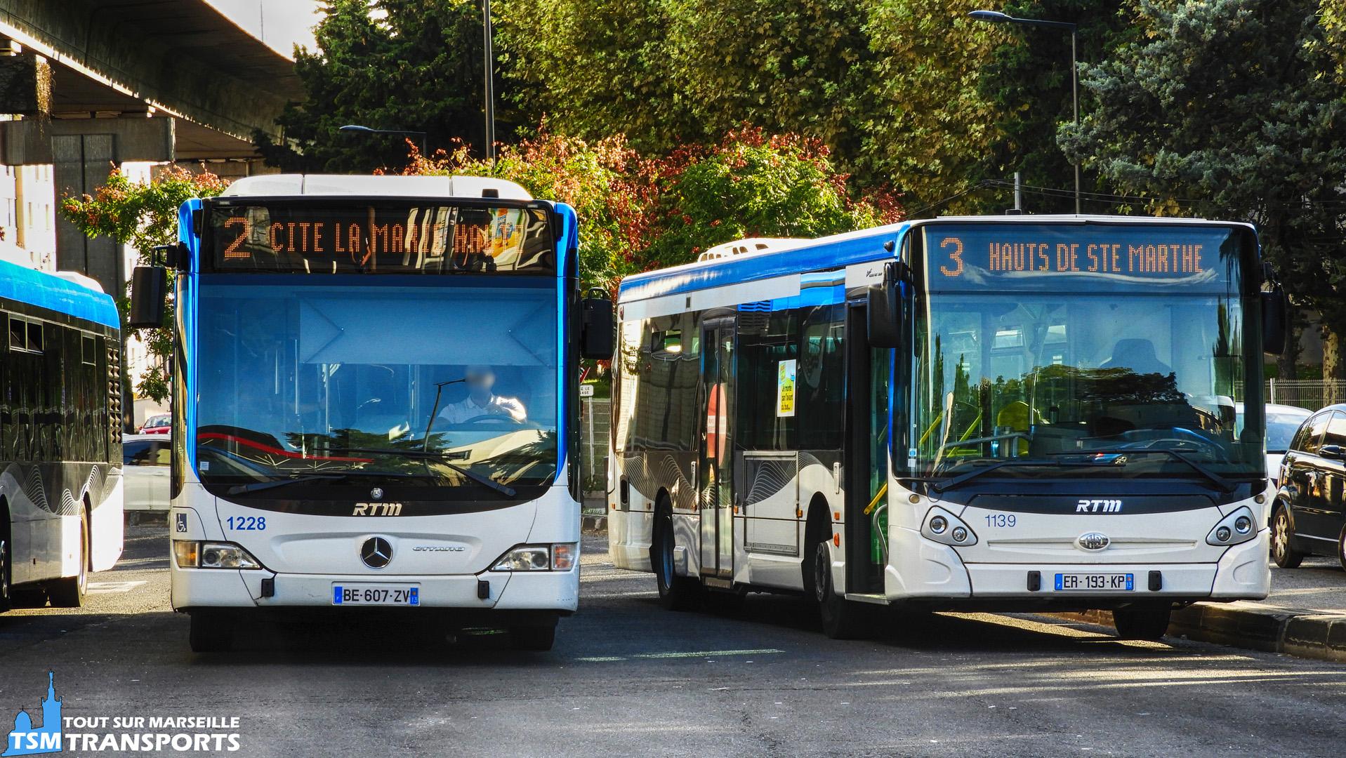 Mercedes Benz Citaro Facelift n°1228 et Heuliez Bus GX327 n°1139 RTM