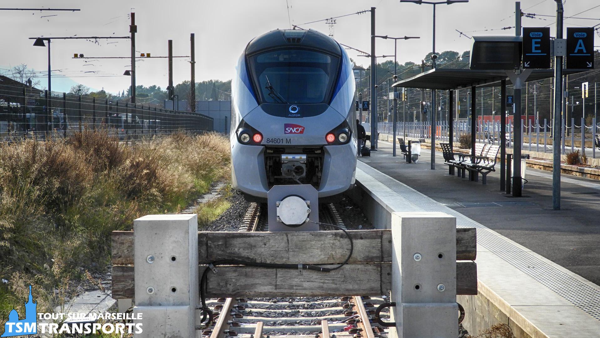 Alstom Régiolis SNCF n°B84601 en gare d'Aubagne