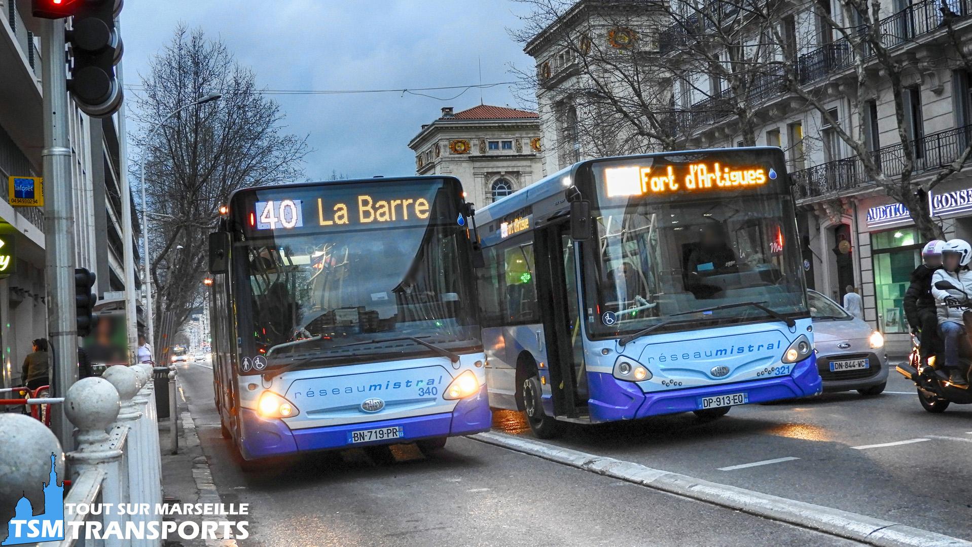 Deux Heuliez Bus GX127 n°340 et GX137 n°321 sur le réseau Mistral à Toulon
