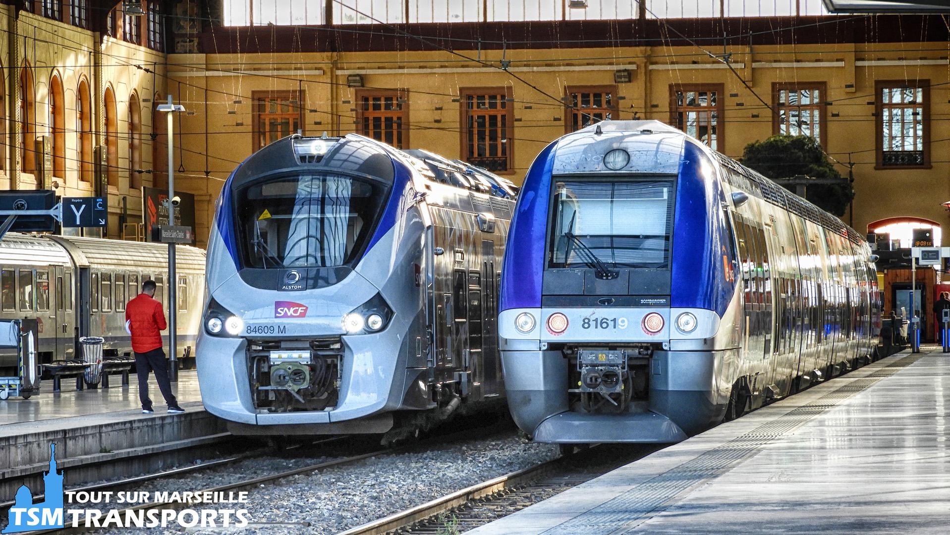 Alstom Régiolis B84609M et Bombardier AGC Bimode B81619 en gare de Marseille Saint Charles
