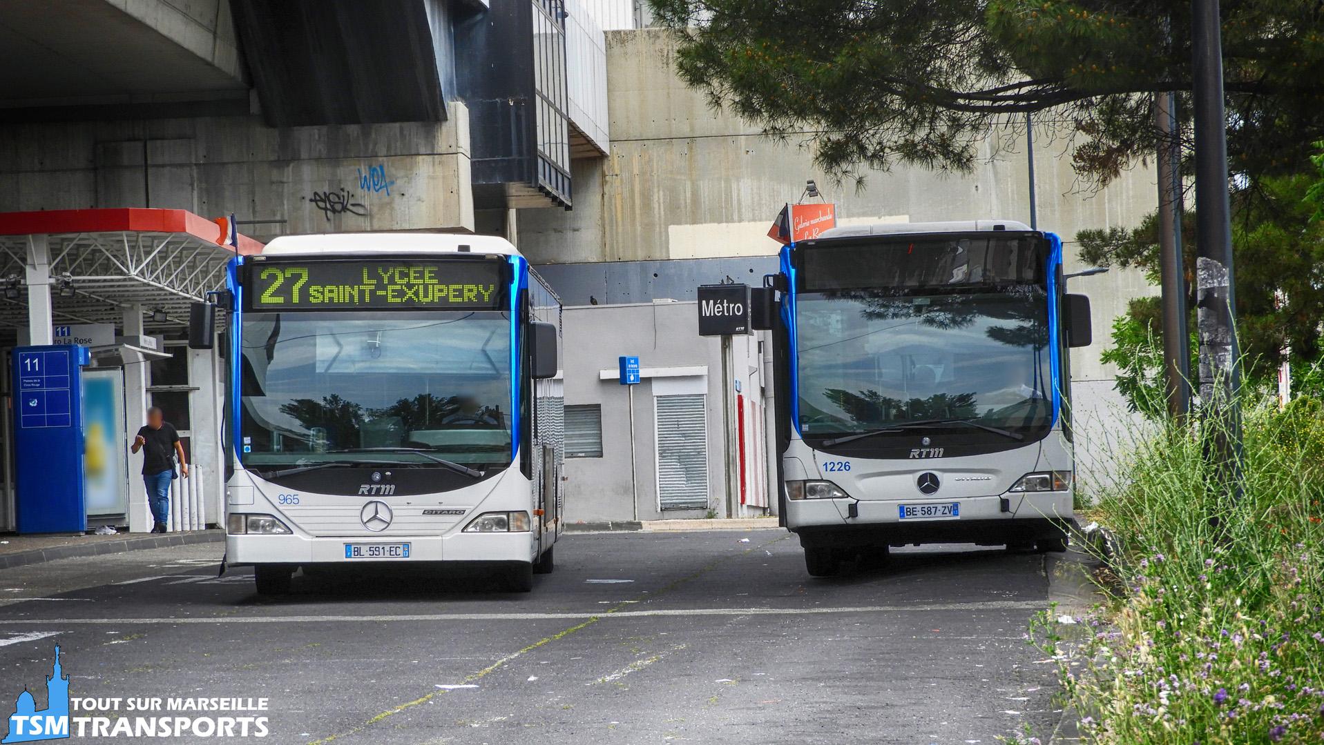 Mercedes Benz Citaro 1 et Citaro Facelift RTM dans la gare d'échange du Métro La Rose