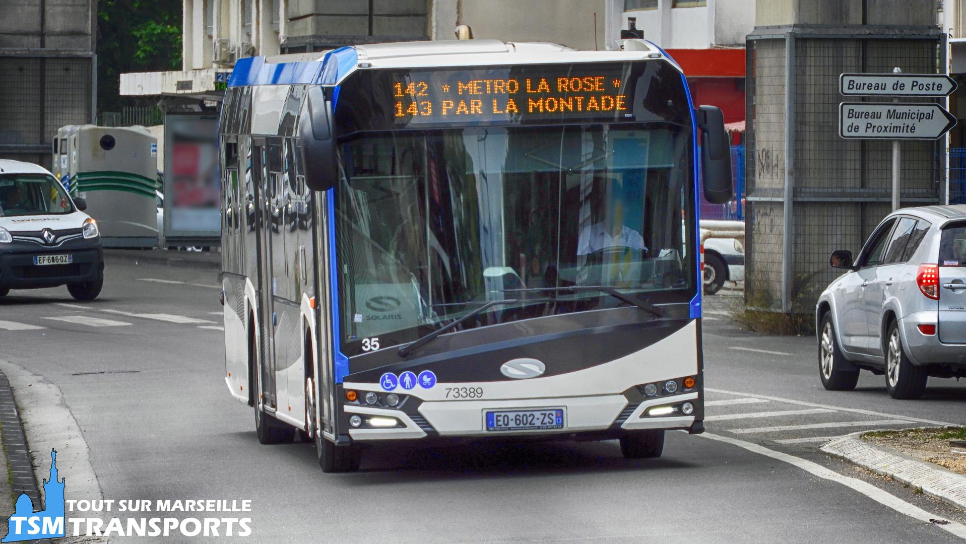 Solaris Urbino 12 V4 de la société Car Du pays D'aix à l'approche du rond point du Métro La Rose