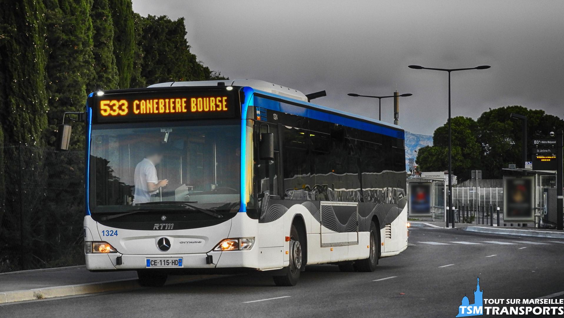"""Mercedes Benz Citaro Facelift RTM n°1324 en attente de sa prise de service au Terminus """"Saint Jérôme Parking Relais"""""""