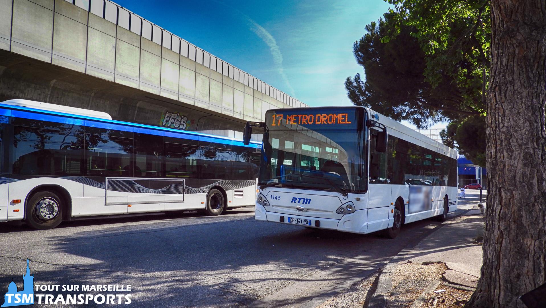 Heuliez Bus GX327 RTM n°1145 faisant parti de la réserve du réseau Ciotabus en livrée Blanche à la gare d'échange du Métro Sainte Marguerite Dromel