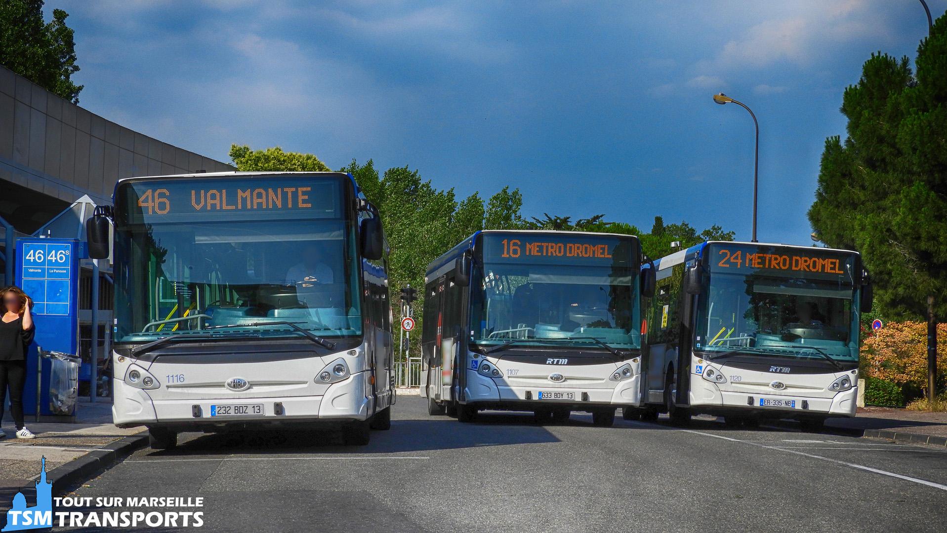 Brochette de 3 Heuliez Bus GX327 RTM n°1116, 1107 et 1120 à la gare d'échange du Métro Sainte Marguerite Dromel