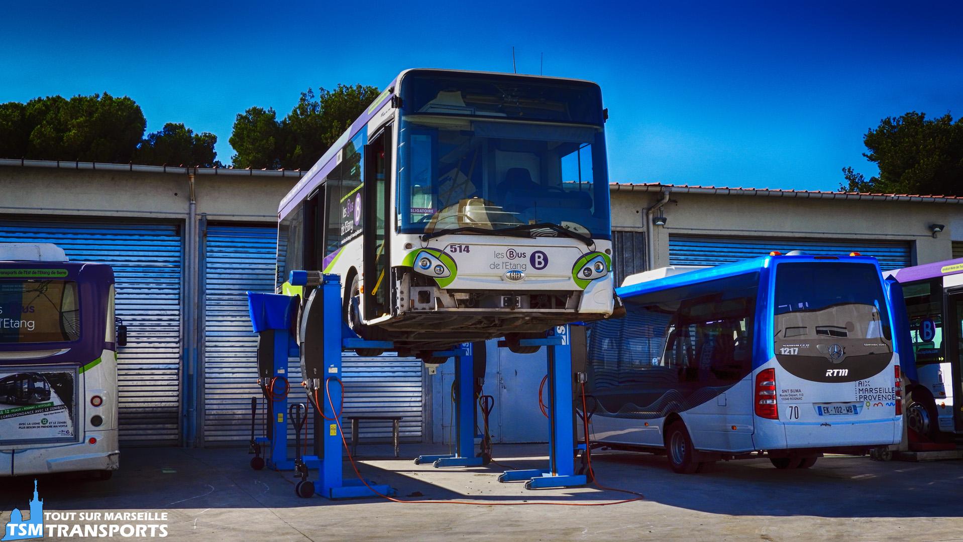 Heuliez Bus GX127 en maintenance au dépôt de SUMA Rognac