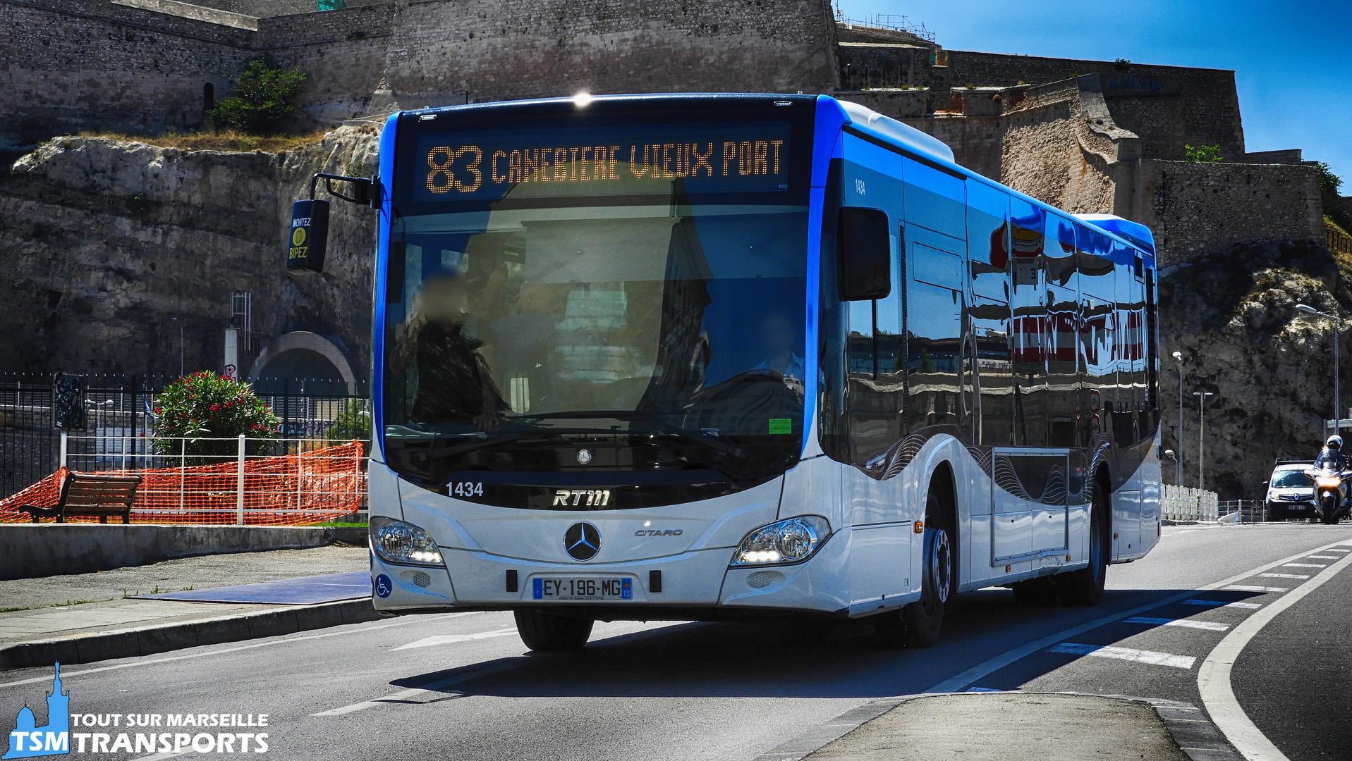 Mercedes Benz Citaro 2 Euro 6 RTM n°1434 a l'entrée du vieux port