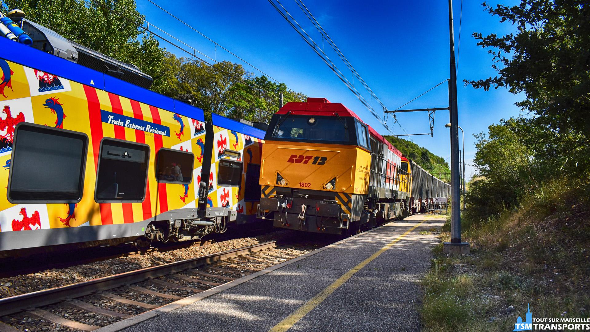 Vossloh G2000 RDT13 qui tire le train Poubelle Marseille- Fos alias le Gadou