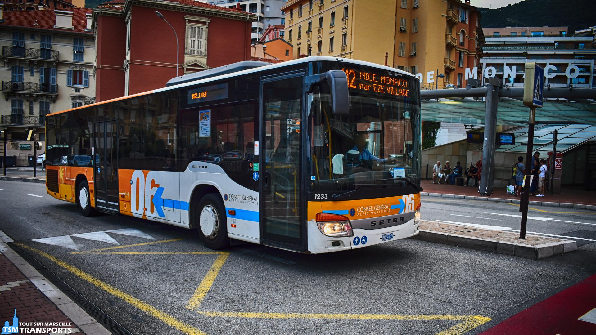 Setra S415NF n°1233 de la société Transdev Rapides Littorale Monégasque