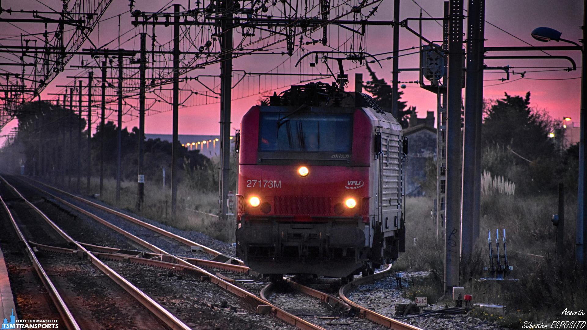 Alors que la ligne droite de la PLM est déserte en cette fin de mercredi, cette BB27173 en provenance d'Arles arrive par la voie d'évitement en Gare de Saint Martin de Crau où elle passera au pas avant de reprendre de la vitesse quelques mètres plus loin. . ℹ️ Alstom BB27000 (BB27173) loué par VFLI a akiem. . 📍 Gare de Saint Martin de Crau, 13310 Saint-Martin-de-Crau. . ↔️ 🤔. . 📸 Nikon D5600. . 📷 Nikkor 70-300mm. . 📅 5 Décembre 2018 à 17:22. . 👨 Sébastien ESPOSITO