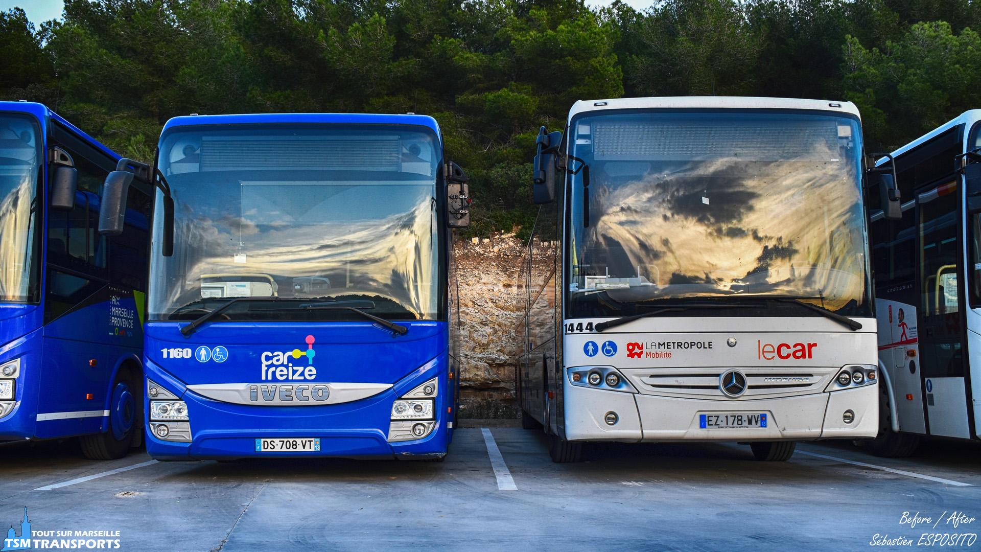 """Alors que le nom du nouveau réseau de transport en commun métropolitain a été dévoilé il y a quelques mois, la société S.N.T. SUMA fait partie des transporteurs concernés par la réforme, le dépôt de Rognac procède donc à la métamorphose des véhicules du parc. . Ici je me trouve face à un Iveco Crossway Line (à gauche) avec les anciennes couleurs et un Mercedes Benz Intouro avec la nouvelle livrée de """"La Métropole Mobilité"""". . ℹ️ Iveco Crossway Line SUMA n°1160 et Mercedes Benz Intouro SUMA n°1444. . 📍S.N.T. SUMA, 3800, RN113, 13340 Rognac. . 🏢 S.N.T. SUMA (Société Nouvelle transport SUMA). . 📸 Nikon D5600. . 📷 Nikkor 18-55mm. . 📅 14 Novembre 2018 à 16:09. . 👨 Sébastien ESPOSITO."""