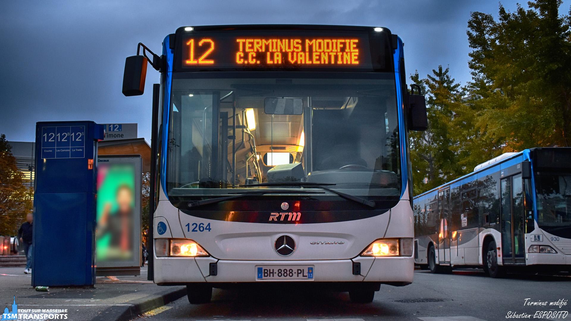 17 novembre, les gilets jaunes sont de sortis et la RTM à bien évidemment subit les effets des blocages dans la ville. . Résultat, j'ai le droit à cette girouette spéciale sur la 12 suite à une régulation, ce bus sera limité au Centre Commercial La Valentine au lieu de l'habituel terminus Eoures. . ℹ️ Mercedes Benz Citaro Facelift RTM n°1264 et Citaro 1 RTM n°930 (à droite). . 📍 Gare d'échange du Métro La Timone, Boulevard Jean Moulin, 5eme arrondissement de Marseille. . ↔️ 12 : Métro La Timone - Eoures . 🚧 : Limité au Centre commercial La Valentine. . 📸 Nikon D5600. . 📷 Nikkor 18-55mm. . 📅 17 novembre 2018 à 17:23. . 👨 Sébastien ESPOSITO et son œil de lynx une fois de plus.