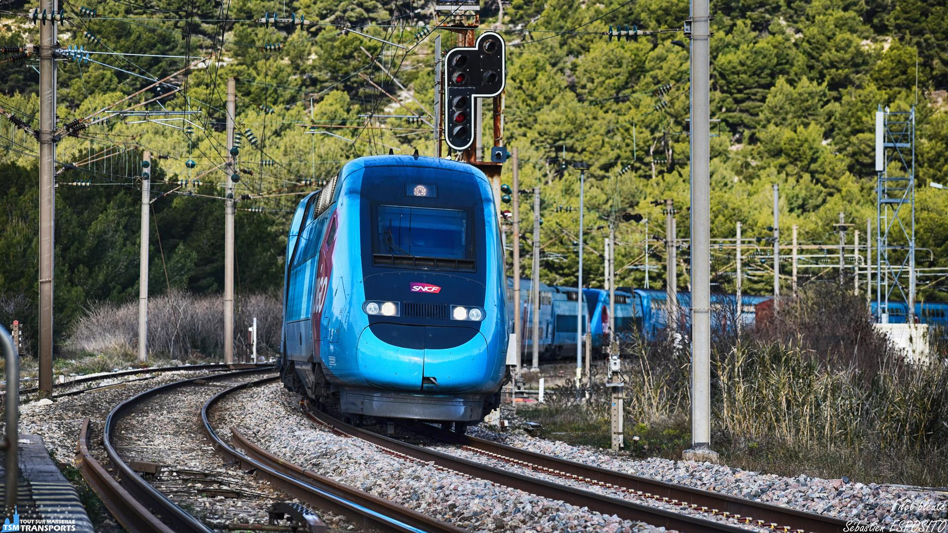 Arrivé dans mon dos, sur la pointe des roues, ce TGV Ouigo n°7851 composé de deux rames TGV Dasye aborde les voies en courbes de la gare de Cassis, ce qui provoque le bruit qui fait retourner tout spotter à l'affût. . Et voilà c'est dans la boîte, j'immortalise les rames 779 et 778 peu après la sortie du tunnel du Mussuguet. . ℹ️ Alstom TGV Dasye 779 et 778 SNCF OUIGO. . 📍 Gare de Cassis, Avenue de gare, 13260 Cassis. . ↔️ OUIGO n°7851 : Paris Gare de Lyon - Nice Ville. . 📸 Nikon D5600. . 📷 Nikkor 70-300mm. . 📅 19 Janvier 2019 à 10:53. . 👨 Sébastien ESPOSITO surpris.