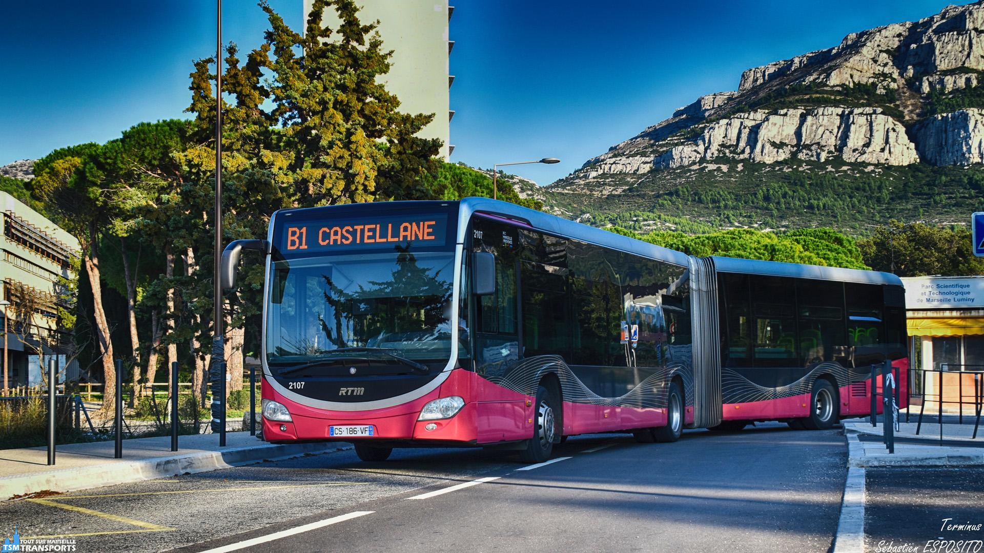 Ce Citaro 2 G BHNS n'ira pas plus loin que le PN des Calanques en ce  Dimanche après midi. . ℹ️ Mercedes Benz Citaro 2 G Euro 5 BHNS RTM n°2107. . 📍 Luminy PN des Calanques, Avenue de Luminy, 9eme arrondissement de Marseille. . ↔️ B1 : Castellane - Luminy PN des Calanques (Parc National des Calanques). . 📸 Nikon D5600. . 📷 Nikkor 18-55mm. . 📅 21 Octobre 2018 à 17:30. . 👨 Sébastien ESPOSITO de retour de Lyon.