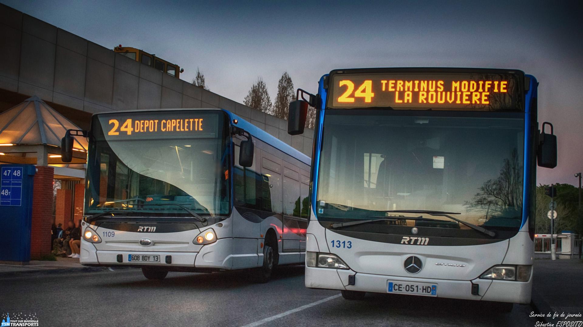 Presque 19h, il est temps pour certains véhicules de rejoindre le dépôt après avoir rendu service sur les lignes Marseillaises. . C'est à la tomber de la nuit, que ce GX 327 passe à côté d'un Facelift garé et en train d'effectuer sa pause avant d'assurer un service partiel vers la rouviere. . Le GX 327 prend quant à lui, la direction du dépôt Capelette en service commercial. . ℹ️ Heuliez Bus GX 327 RTM n°1109. . ℹ️² Mercedes Benz Citaro Facelift RTM n°1313. . 📍 Gare d'échange, Métro Sainte Marguerite Dromel, Boulevard Schloesing, 9eme arrondissement de Marseille. . ↔️ 24 : Métro Sainte Marguerite Dromel - Dépôt Capelette. . ↔️² 24 : Métro Sainte Marguerite Dromel - La Rouviere (SP). . 👀 On peut apercevoir une draisine sur la passerelle du Métro, garée dans l'arrière gare. . 📸 Nikon D5600. . 📷 Nikkor 18-55mm. . 📅 19 Mars 2019 à 18:55. . 👨 Sébastien ESPOSITO.