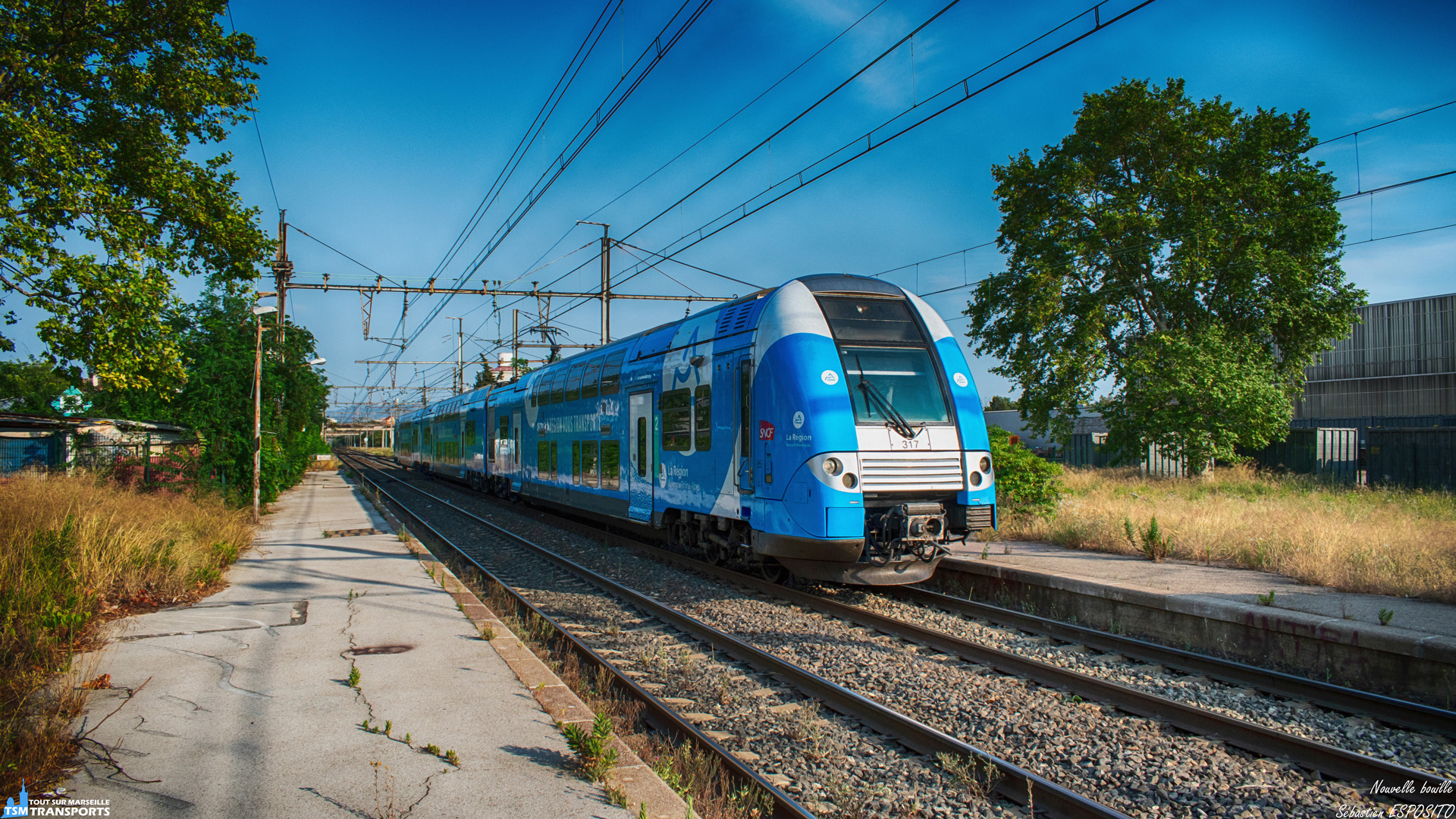 Au loin, au bout de la ligne droite, derrière les mirages, je pensai que s'était encore un énième ouigo qui s'approchait et bien non ce ne fut pas un train à grande vitesse, mais une Z24500 fraîchement revêtue de sa nouvelle livrée AURA qui passe à allure soutenue dans l'ancienne gare de Saint Louis Les Aygalades. . Cette automotrice au départ de Marseille Saint Charles file désormais vers Lyon Part-Dieu. . ℹ️ Alstom Z24500 (Z24533 / Z24534) Rame : 317 SNCF. . 📍 Ancienne Gare de Saint Louis Les Aygalades, 15eme arrondissement de Marseille. . 🖌️ Livrée Région Auvergne Rhône Alpes. . 📸 Nikon D5600. . 📷 Nikkor 18-55mm. . 📅 3 Juillet 2019 à 19:09. . 👨 Sébastien ESPOSITO.