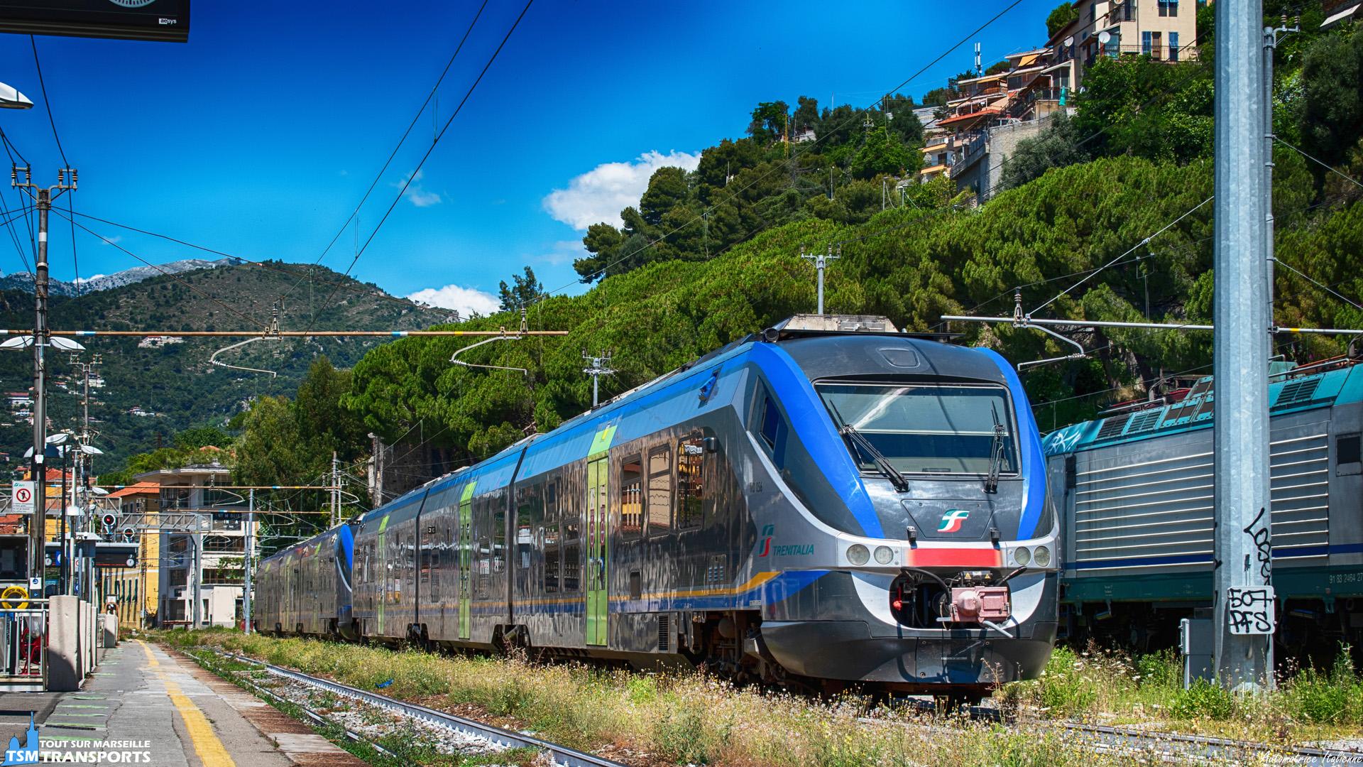 """Sur les voies ensoleillées de la Gare de Vintimille, une UM de """"Minuetto"""" bronze et attend sa prochaine mission dans le pays de la pizza 🍕. . Construit sur une base de Coradia, les Alstom ALn 501 (Automotrice Légère nafta (diesel en Français)) sont composées de 3 caisses dont deux avec cabines de conduite. . ℹ️ Alstom Ferroviaria ALn 501 MD 056 & MD 088 Minuetto Trenitalia. . 📍 Ventimiglia-Stazione, 18039 Vintimille, Imperia, Italie. . 📸 Nikon D5600. . 📷 Nikkor 18-55mm. . 🙋 Accompagné de @trains_du_sud & @jujubs410 . . 📅 4 Juillet 2020 à 12:04."""